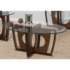 Buy Jofran Ellipse Cherry 48x32 Cocktail Table w/ Tempered Glass Top on sale online