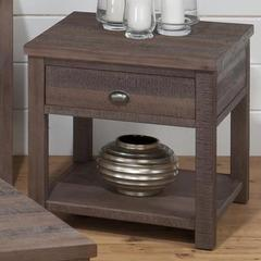 Buy Jofran Falmouth Weathered Grey 24x24 Square End Table w/ Wire Brushed Rough Hewn Finish in Medium Wood on sale online