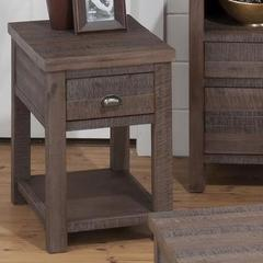 Buy Jofran Falmouth Weathered Grey 24x16 Rectangular Chairside Table w/ Wire Brushed Rough Hewn Finish in Medium Wood on sale online