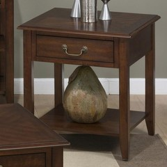 Buy Jofran Medium Cherry 24x24 Square End Table w/ Drawer and Shelf on sale online