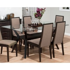 Buy Jofran Midtown Espresso 72x42 Rectangular Dining Table w/ Tempered Glass Top on sale online