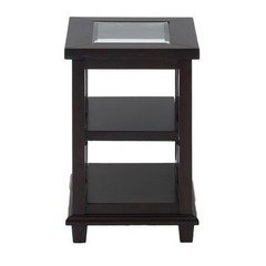 Buy Jofran Panama Brown 22x16 Rectangular Chairside Table w/ 2 Shelves and Tempered Beveled Edge Glass Insert on sale online
