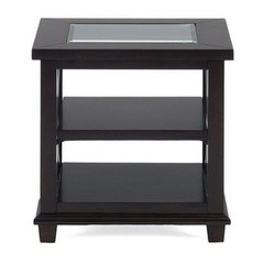 Buy Jofran Panama Brown 24x22 Rectangular End Table w/ 2 Shelves and Tempered Beveled Edge Glass Insert on sale online