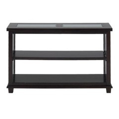 Buy Jofran Panama Brown 48x18 Rectangular Media Unit w/ 2 Shelves and 2 Tempered Beveled Edge Glass Inserts on sale online