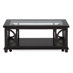 Buy Jofran Panama Brown 48x24 Rectangular Cocktail Table w/ Shelf, Tempered Beveled Edge Glass Insert and Casters on sale online