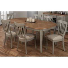 Buy Jofran Pottersville Antique Grey 7 Piece 60x42 Oval Dining Room Set w/ Butterfly Leaf in Grey, Light Wood on sale online