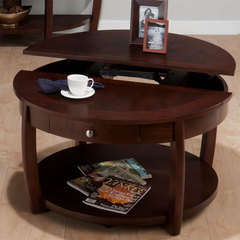 Buy Jofran Riverside Brown Walnut 32 Inch Round Cocktail Table w/ Shelf, Drawer, Casters and Lift Top on sale online