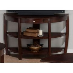 Buy Jofran Riverside Brown Walnut 48x18 Demilune Sofa Table w/ Drawer, 2 Shelves and Wire Management on sale online