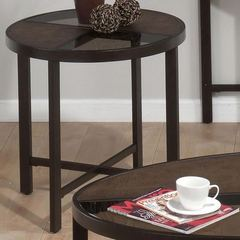 Buy Jofran Roswell Stone 24x24 Round End Table w/ Tempered Glass Top and Synthetic Stone in Brown on sale online