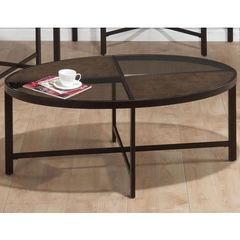 Buy Jofran Roswell Stone 48x28 Oval Cocktail Table w/ Tempered Glass Top and Synthetic Stone in Brown on sale online