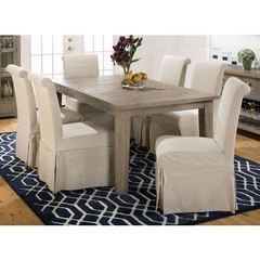 Buy Jofran Slater Mill Pine 7 Piece 72x42 Rectangular Dining Room Set w/ 6 Parson Chairs on sale online