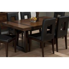 Buy Jofran Winnifred Oak 72x42 Rectangular Leg Dining Table w/ Inlay Top in Oak, Medium Wood on sale online