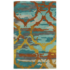 Buy Kaleen Brushstrokes Rectangle Area Rug in Teal - BRS02-91 on sale online