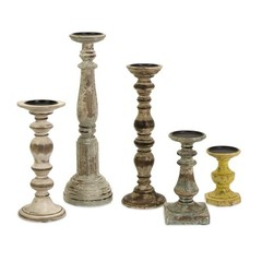 Buy IMAX Worldwide Kanan Wood Candleholders in Distressed Finishe (Set of 5) on sale online