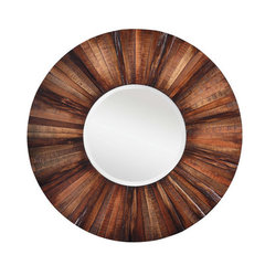 Buy Cooper Classics Kona 36 Inch Round Mirror in Natural Rustic Wood on sale online