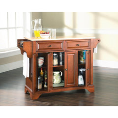 Buy Crosley Furniture LaFayette 52x18 Natural Wood Top Kitchen Island in Classic Cherry on sale online