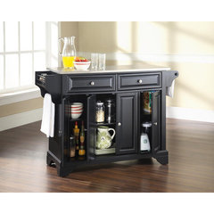 Buy Crosley Furniture LaFayette 52x18 Stainless Steel Top Kitchen Island in Black on sale online