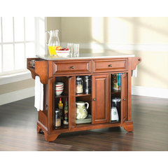 Buy Crosley Furniture LaFayette 52x18 Stainless Steel Top Kitchen Island in Classic Cherry on sale online