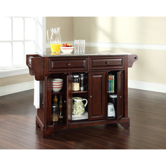 Buy Crosley Furniture LaFayette 52x18 Stainless Steel Top Kitchen Island in Vintage Mahogany on sale online