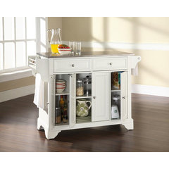 Buy Crosley Furniture LaFayette 52x18 Stainless Steel Top Kitchen Island in White on sale online