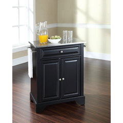 Buy Crosley Furniture LaFayette 28x18 Stainless Steel Top Portable Kitchen Island in Black on sale online
