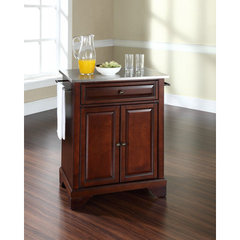 Buy Crosley Furniture LaFayette 28x18 Stainless Steel Top Portable Kitchen Island in Vintage Mahogany on sale online