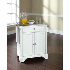 Buy Crosley Furniture LaFayette 28x18 Stainless Steel Top Portable Kitchen Island in White on sale online