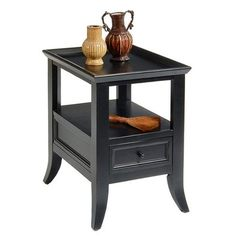 Buy Liberty Furniture 915 Occasional 24x18 Rectangular End Table in Black, Dark Wood on sale online