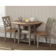 Buy Liberty Furniture Al Fresco 3 Piece 42x42 Round Dining Room Set w/ X-Back Side Chairs in Light Wood, Antique on sale online