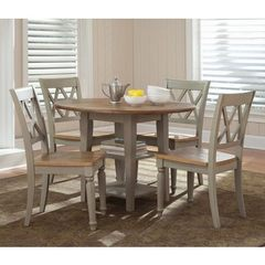 Buy Liberty Furniture Al Fresco 5 Piece 42x42 Round Dining Room Set w/ X-Back Side Chairs in Light Wood, Antique on sale online