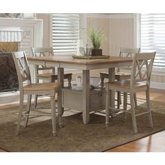 Buy Liberty Furniture Al Fresco 5 Piece 54x54 Square Counter Height Set w/ X-Back Counter Height Stools in Light Wood, Antique on sale online