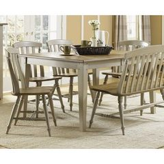 Buy Liberty Furniture Al Fresco 5 Piece 74x40 Dining Room Set w/ Slat Back Side Chairs in Light Wood, Antique on sale online