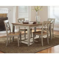 Buy Liberty Furniture Al Fresco 5 Piece 74x40 Dining Room Set w/ X-Back Side Chairs in Light Wood, Antique on sale online