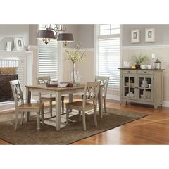 Buy Liberty Furniture Al Fresco 6 Piece 74x40 Dining Room Set w/ Server in Light Wood, Antique on sale online
