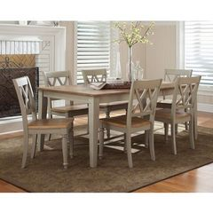 Buy Liberty Furniture Al Fresco 7 Piece 74x40 Dining Room Set w/ 6 X-Back Side Chairs in Light Wood, Antique on sale online