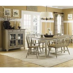 Buy Liberty Furniture Al Fresco 7 Piece 74x40 Dining Room Set w/ Bench and Server in Light Wood, Antique on sale online