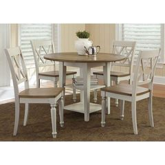 Buy Liberty Furniture Al Fresco III 5 Piece 42x42 Round Drop Leaf Dining Room Set w/ Double X Back Side Chairs in Driftwood and Sand on sale online
