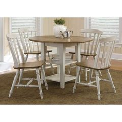Buy Liberty Furniture Al Fresco III 5 Piece 42x42 Round Drop Leaf Dining Room Set w/ Slat Back Side Chairs in Driftwood and Sand on sale online