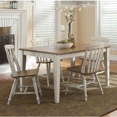 Buy Liberty Furniture Al Fresco III 5 Piece 56x40 Rectangular Dining Room Set w/ Slat Back Side Chairs in Driftwood and Sand on sale online