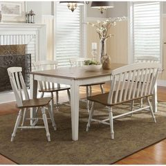 Buy Liberty Furniture Al Fresco III 6 Piece 56x40 Rectangular Dining Room Set w/ Slat Back Side Chairs and Bench in Driftwood and Sand on sale online