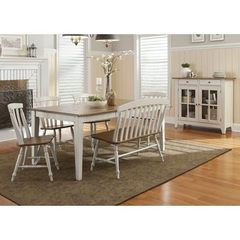Buy Liberty Furniture Al Fresco III 7 Piece 56x40 Rectangular Dining Room Set w/ Slat Back Side Chairs, Bench and Server in Driftwood and Sand on sale online