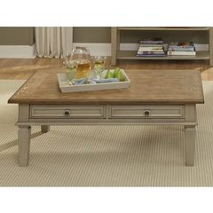 Buy Liberty Furniture Bungalow 48x28 Rectangular Cocktail Table in Ivory, Light Wood on sale online