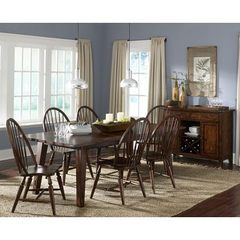 Buy Liberty Furniture Cabin Fever 8 Piece 90x42 Dining Room Set w/ Server in Brown, Dark Wood on sale online