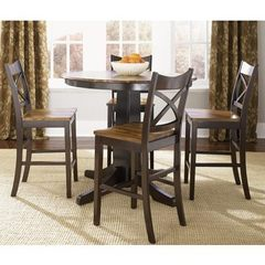 Buy Liberty Furniture Cafe Collections Acacia 5 Piece 42 Inch Round Pub Table Set in Light and Dark Wood on sale online