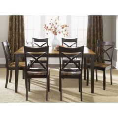 Buy Liberty Furniture Cafe Collections Acacia 7 Piece 60x36 Dining Room Set in Light and Dark Wood on sale online