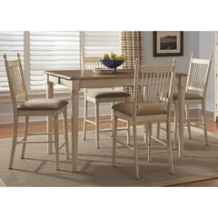 Buy Liberty Furniture Cottage Cove 5 Piece 54x54 Square Gathering Counter Height Set in Light Wood, Ivory on sale online
