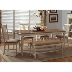 Buy Liberty Furniture Cottage Cove 6 Piece 80x40 Dining Room Set w/ Bench in Light Wood, Ivory on sale online