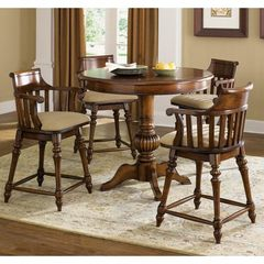 Buy Liberty Furniture Crystal Lakes 5 Piece 42x42 Round Pub Table Set w/ Swivel Barstools in Brown, Medium Wood on sale online