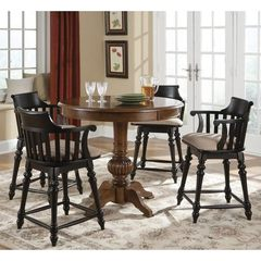 Buy Liberty Furniture Crystal Lakes 5 Piece 42x42 Round Pub Table Set w/ Swivel Barstools in Brown and Black on sale online