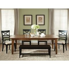 Buy Liberty Furniture Hearthstone 6 Piece 108x44 Dining Room Set w/ Bench in Oak, Black on sale online